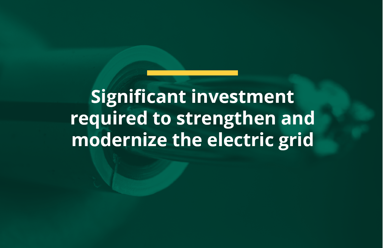 Significant investment required to strenghen and modernize the electric grid