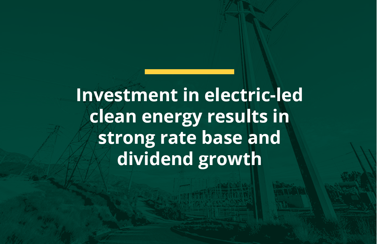 Investment in electric-led clean energy results in strong rate base and dividend growth